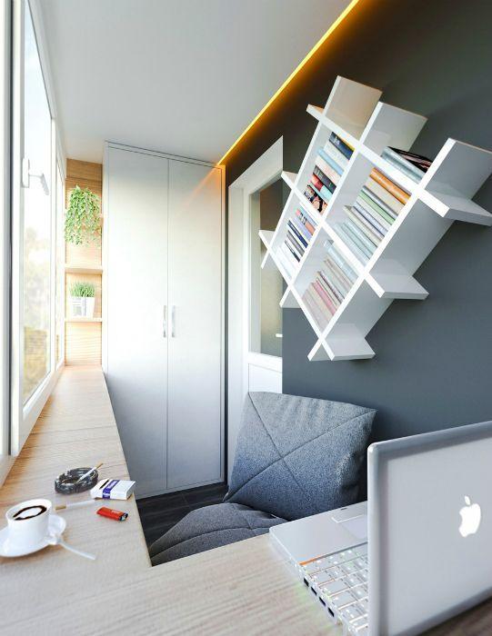 как сделать маленький балкон однушки рабочим местом фото_2