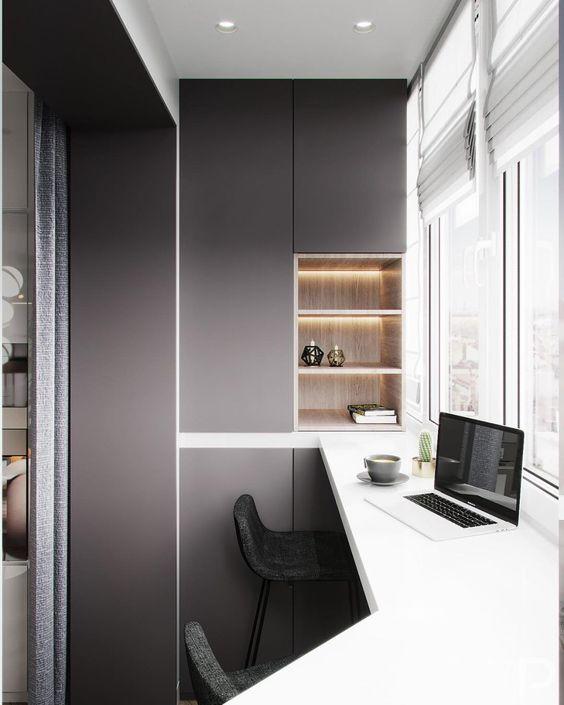 как сделать маленький балкон однушки рабочим местом фото_4