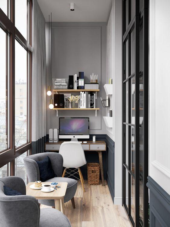как сделать маленький балкон однушки рабочим местом фото_13