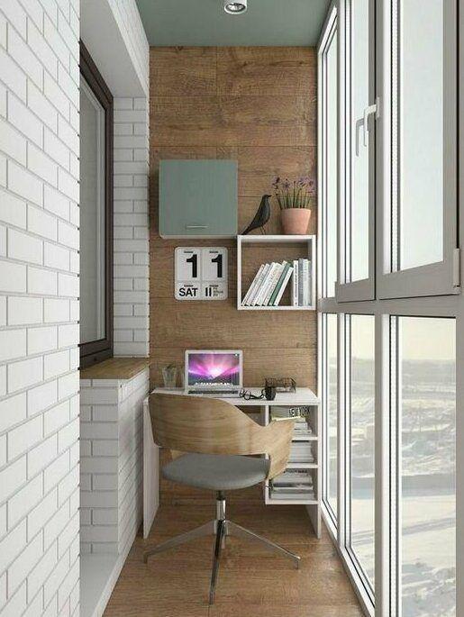 как сделать маленький балкон однушки рабочим местом фото_15