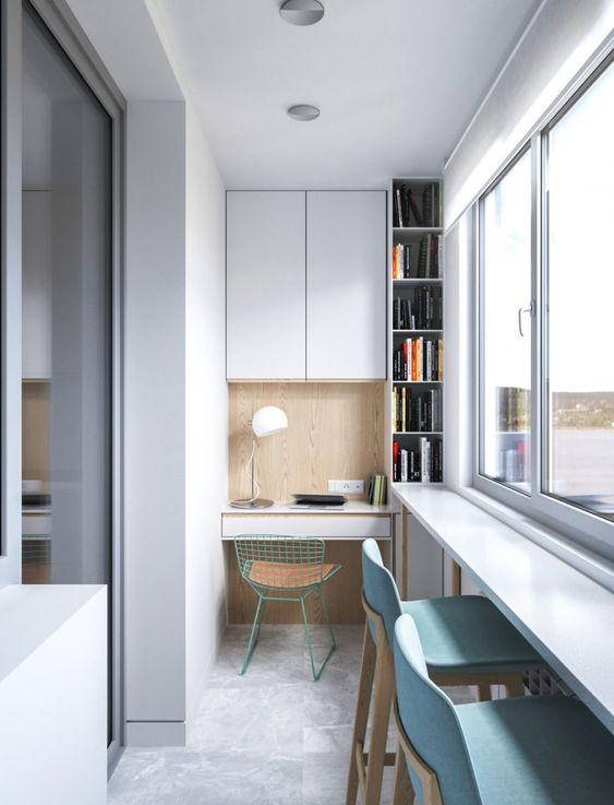 как сделать маленький балкон однушки рабочим местом фото_16
